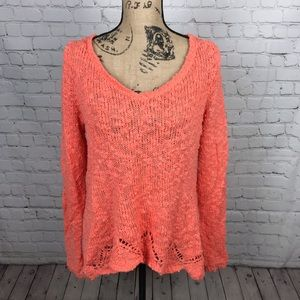 [Anthropologie] Coral Knit Scalloped Edge Sweater